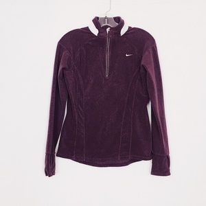 Nike Maroon White Half Zip Up Fleece Size Medium